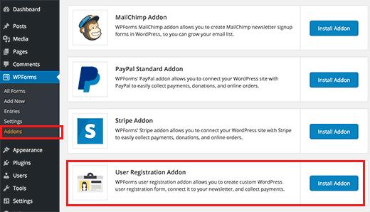 WordPress Kullanıcı Kaydı WPForms Uzantı yükleme