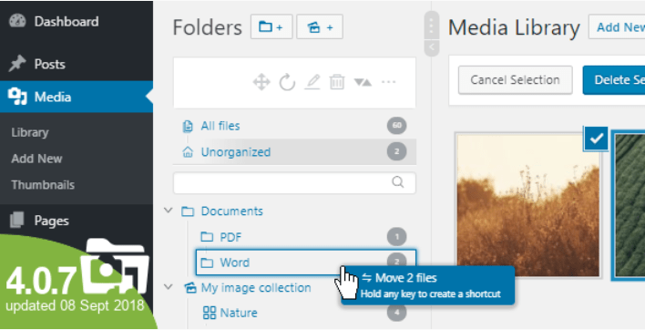 WordPress Real Media Library Media Categories Folders File Manager