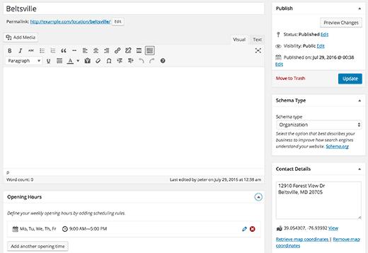 ajouter un emplacement WordPress