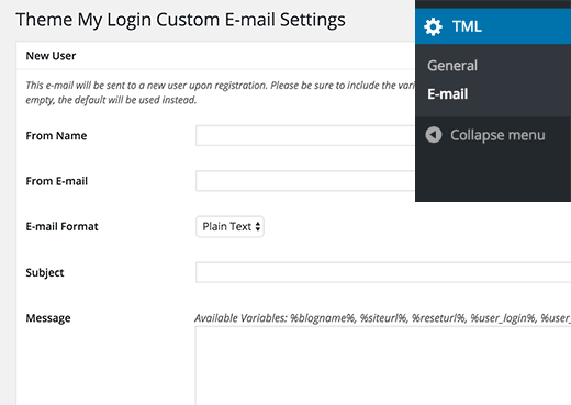 configuration Email TML plugin WordPress
