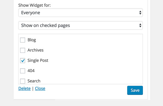 configuration du widget