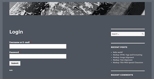 WPForms özel giriş sayfası
