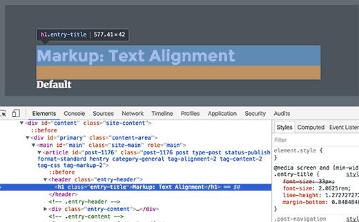 règles CSS de l'élément HTML