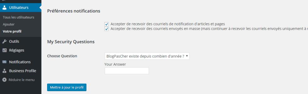 reglages du profil pour les notifications