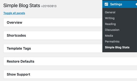 simples blog Status WordPress Plugin