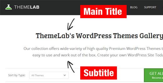 judul dan subjudul contoh WordPress