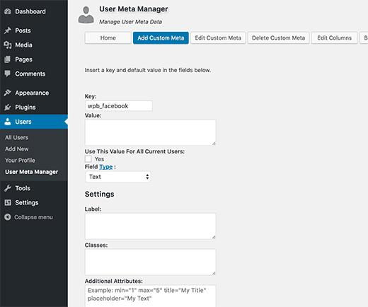 adicionar meta-des-por-usuário personaliza