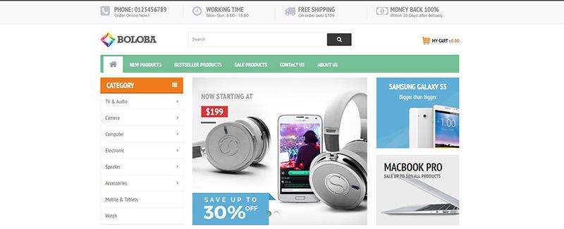 Boloba-тема-PrestaShop-продажа-продукция-электронно-blogpascher