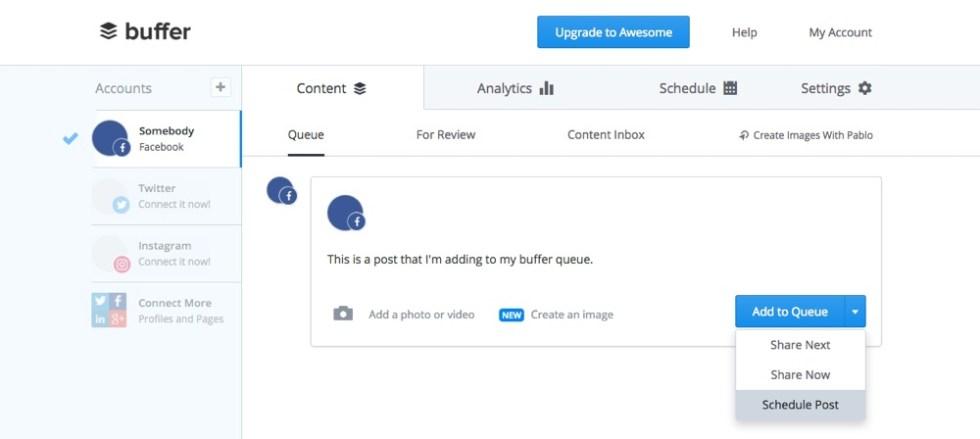 planification des articles sur buffer