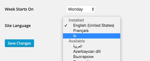 Выбор Дун-языка WordPress