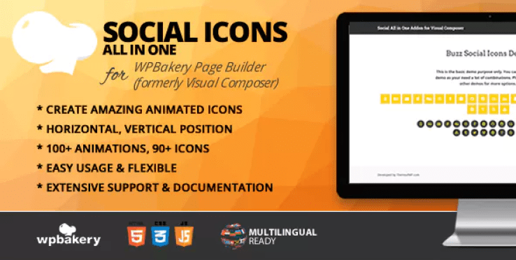 All in one social icons addon for wpbakery page builder plugin wordpress