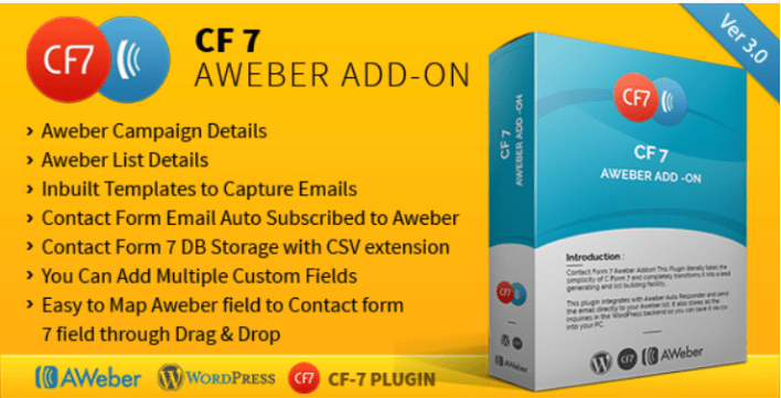plugins WordPress pour créer un formulaire de contact - Cf7 aweber add on