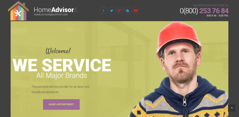 Homeadvisor thème wordpress créer site web entreprise renovation