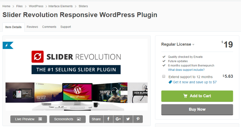 Revolution-слайдер CodeCanyon