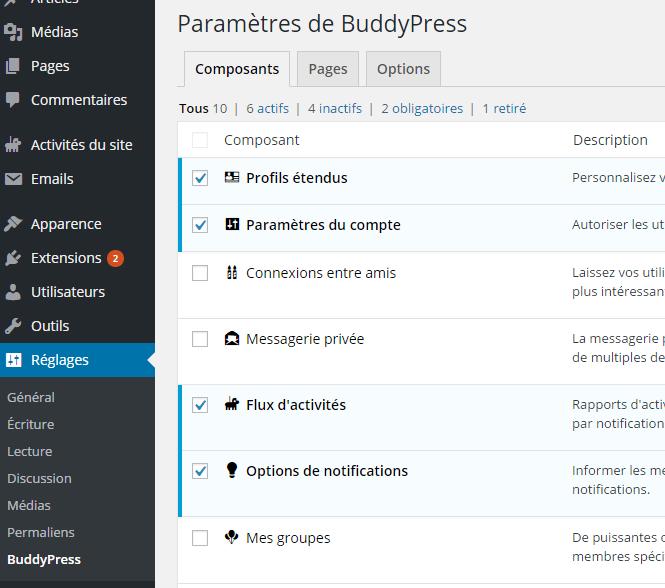 parâmetro de BuddyPress