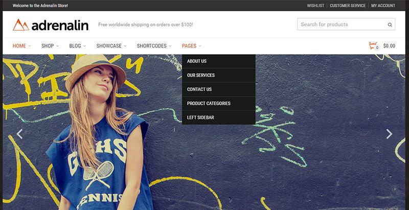 Adrenalin themes wordpress создать сайт электронной коммерции
