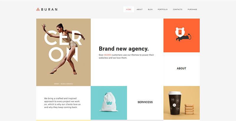 Buran-wordpress-temas-grande-criar-site-internet-agência