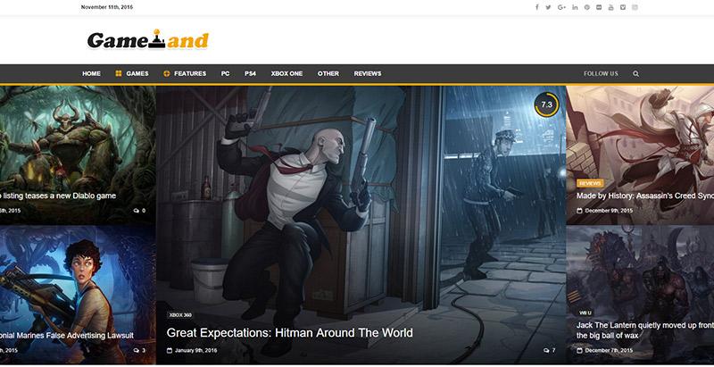 gameland - meilleurs thèmes WordPress de jeux vidéo