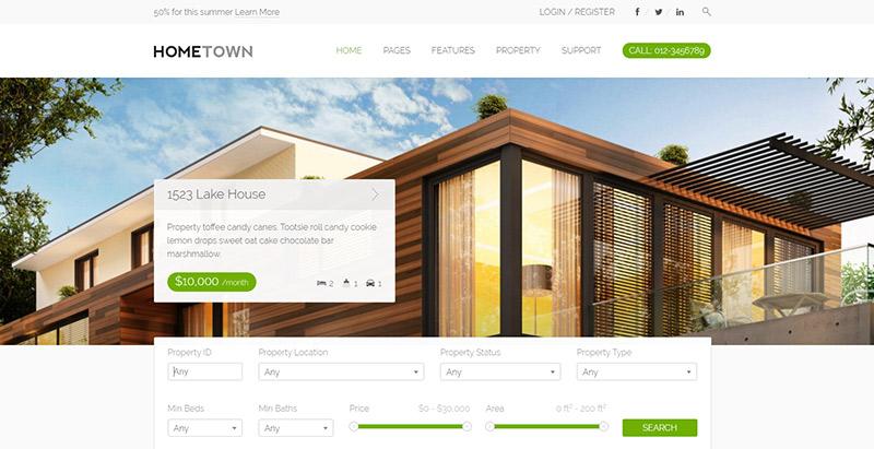 Hometown themes wordpress créer site web louer vendre maisons villa appartement