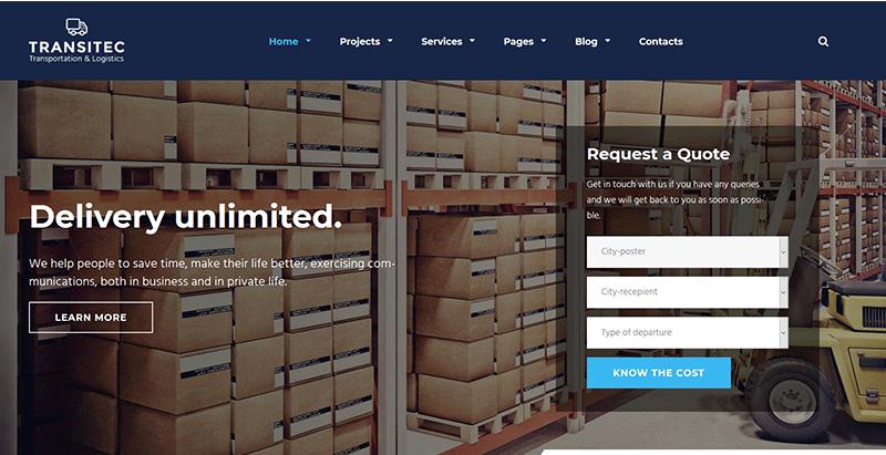 thèmes WordPress de logistique - Transitec