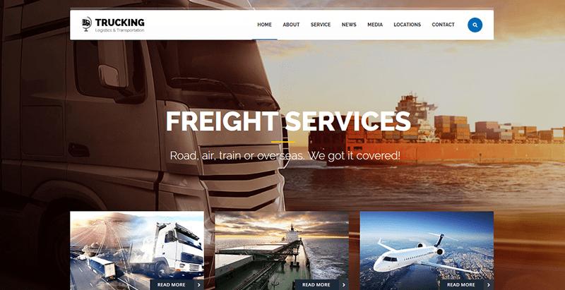 Trucking transport logistics theme wordpress creer site web