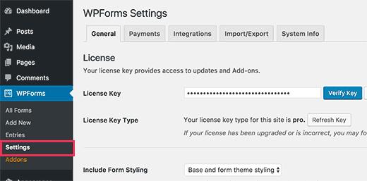 accepter des articles sur WordPress avec WPForms - enregister-une-cle-de-licence-wpforms