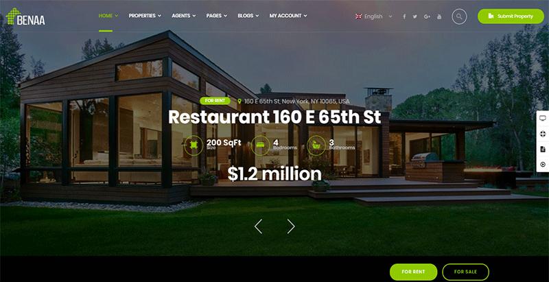 meilleurs thèmes WordPress pour vente de maisons - Benaa