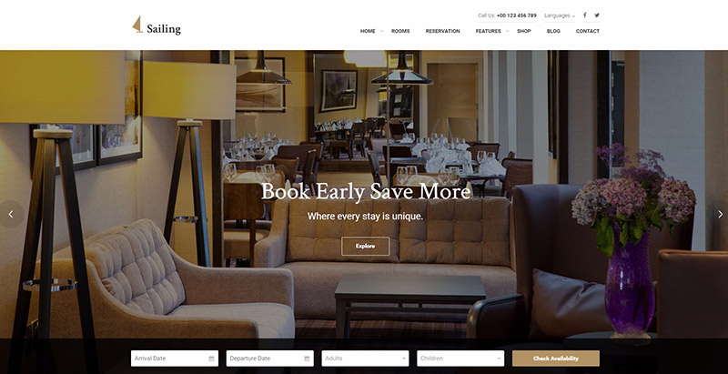 Sailing theme wordpress creer site web hotel auberge motel