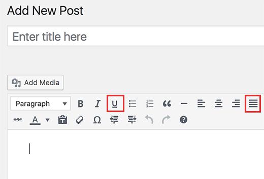 Bouton justifier et souligner sur wordpress