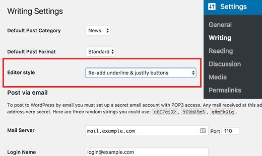 Configuration du plugin re add justify and underline