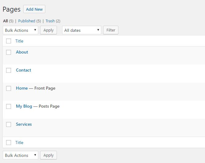 Créer une page pour chaque section