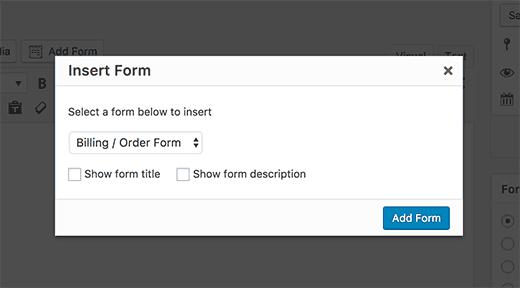 Insérer un formulaire wpforms