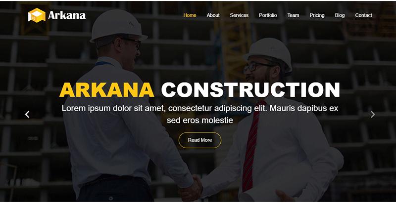 Arkana construction wordpress theme