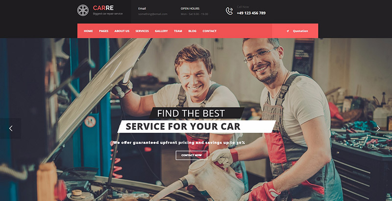 Carre themes wordpress creer site web vente reparation voiture achat location