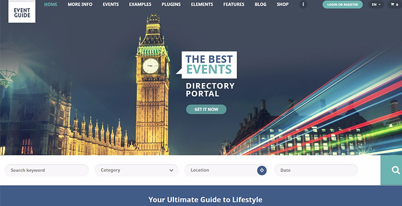 Event guide themes wordpress creer site web evenements conférences seminaires