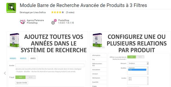 Advanced product search bar with 3 filters plugin prestashop pour entête