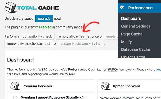 Effacer le cache w3 total cache