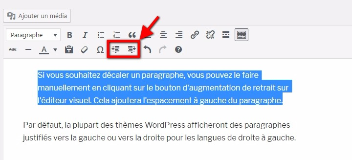 Indenter les paragraphes sur wordpress