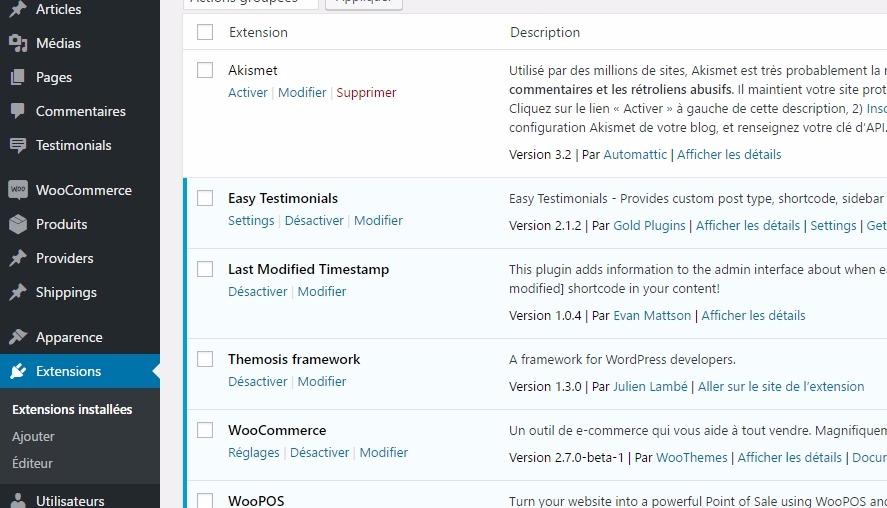 Liste des plugins wordpress