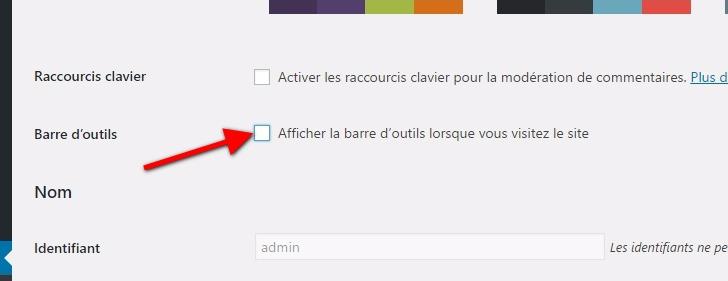 Cómo ocultar la barra de herramientas panel de WordPress | BlogPasCher