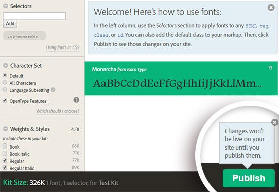 Prévisualiser les typographie typekit