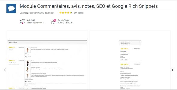 Reviews advices ratings seo and google rich snippets plugin prestashop pour évaluation