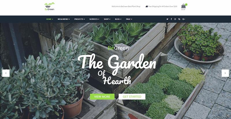 Begreen themes wordpress creer site web fleuriste jardinier