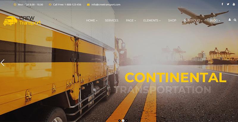 Crewtransport theme wordpress creer site web transport logistics
