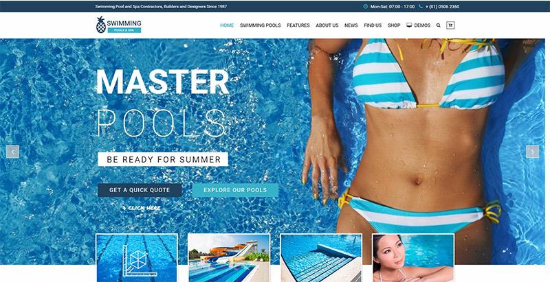 Swimming pool themes wordpress creer site web spa salon beaute massage