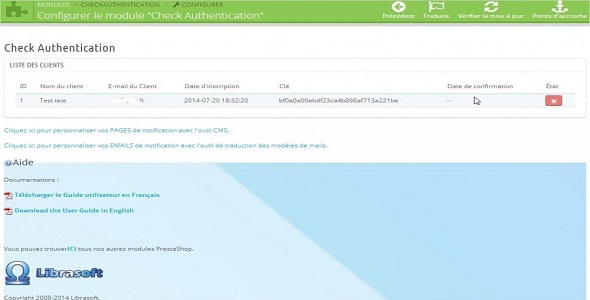 Check authentification mail validation plugin prestashop pour authentification