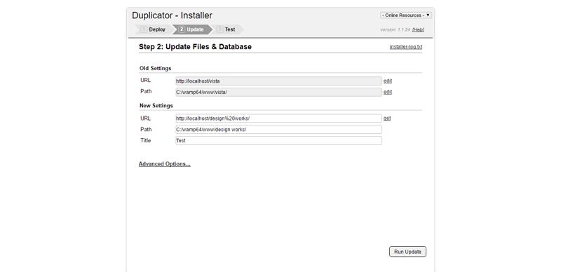 Configuration des urls wordpress duplicator