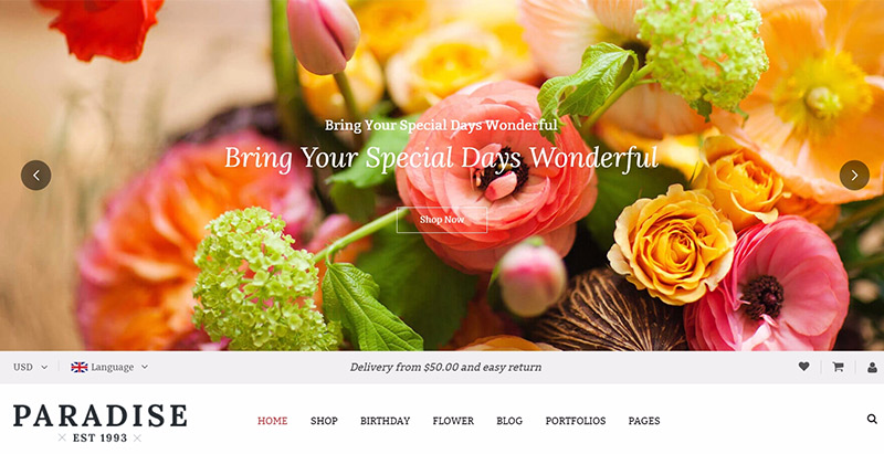 Paradise themes wordpress creer site web fleuriste jardinier