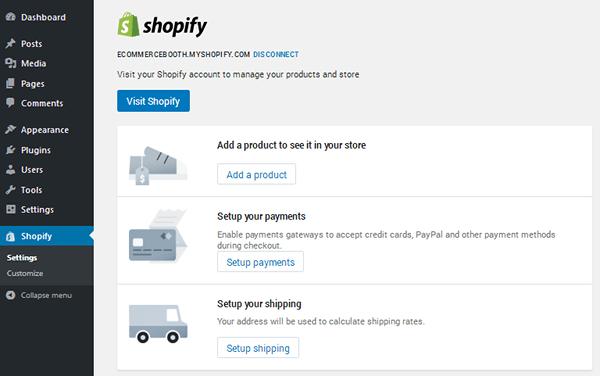 Atalhos do Shopify no wordpress