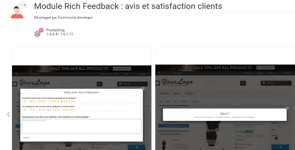 Rich feedback customers satisfaction and opinion plugin prestashop pour témoignages